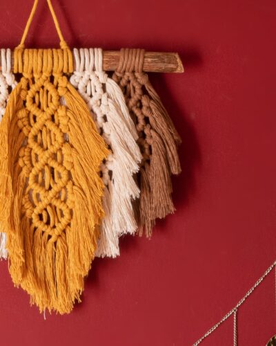 Feathers wall hanging macrame